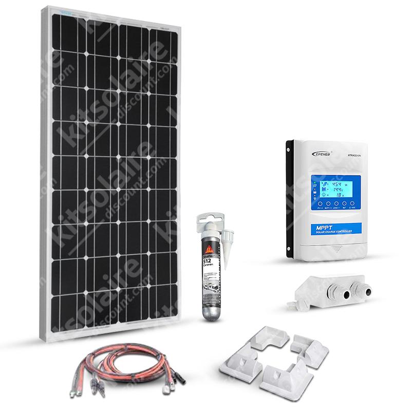 Kit solaire 100w 12v camping car-caravane-bateau Mppt Boost