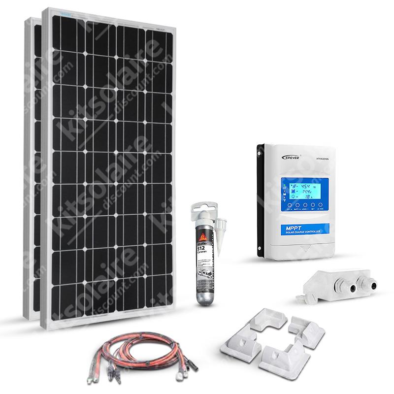 Kit solaire 200w (100w x 2) 12v camping car-caravane-bateau Mppt Boost