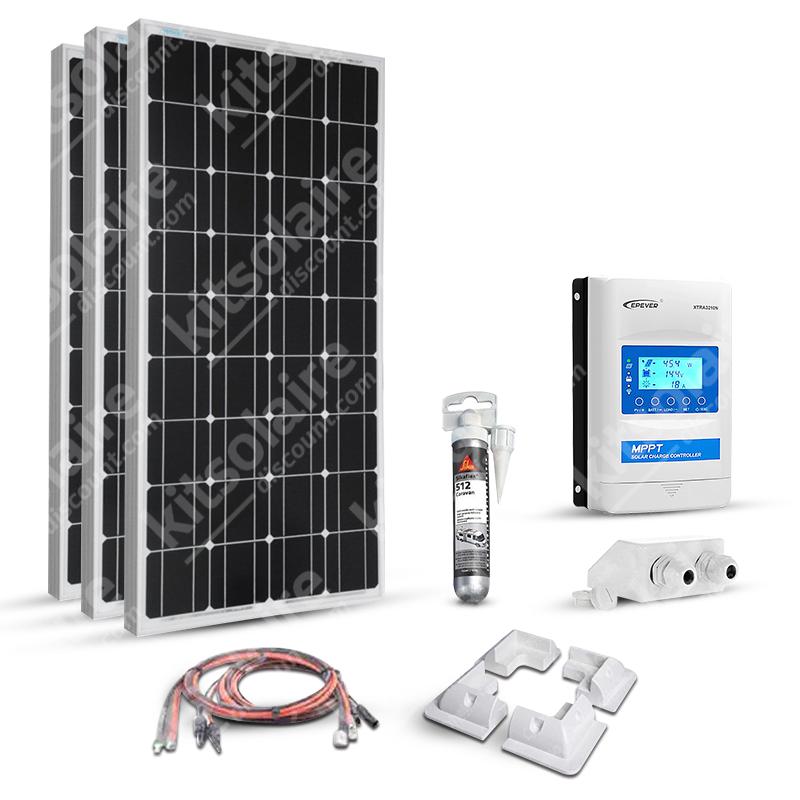 Kit solaire 300w (100w x 3) 12v camping car-caravane-bateau Mppt Boost